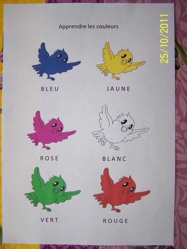 fiche apprendre les couleurs